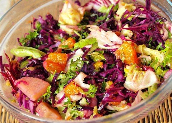 Рецепт                  Салат из красной капусты с апельсинами и картофелем