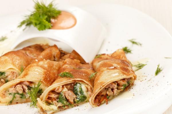 Рецепт                  Блины с телятиной и овощами