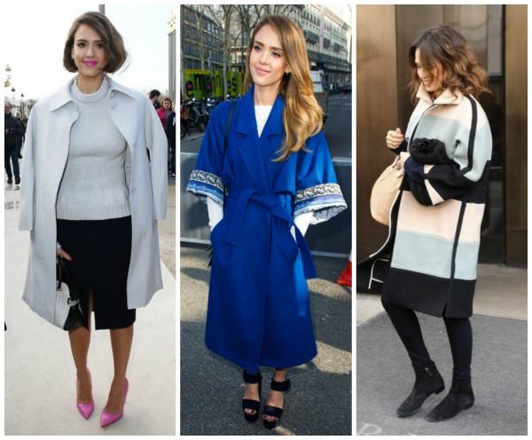 Стильное пальто – must-have  в гардеробе голливудской актриса Джессики Альба.