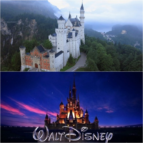 Замок Нойшванштайн и логотип Walt Disney Pictures