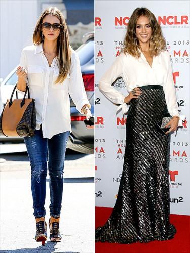 Актриса Джессика Альба ввела офисную деталь гардероба в вечерний образ