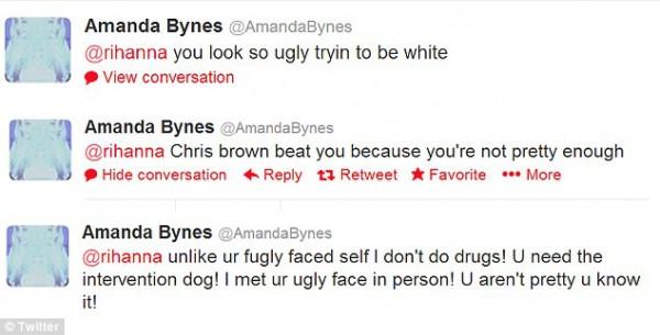 Аманда Байнс назвала Рианну уродливой