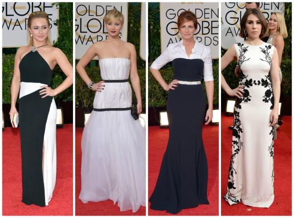 Модный монохром: актрисы Хайден Панеттьери, Дженнифер Лоуренс, Джулия Робертс, Зося Мамет (слева направо)