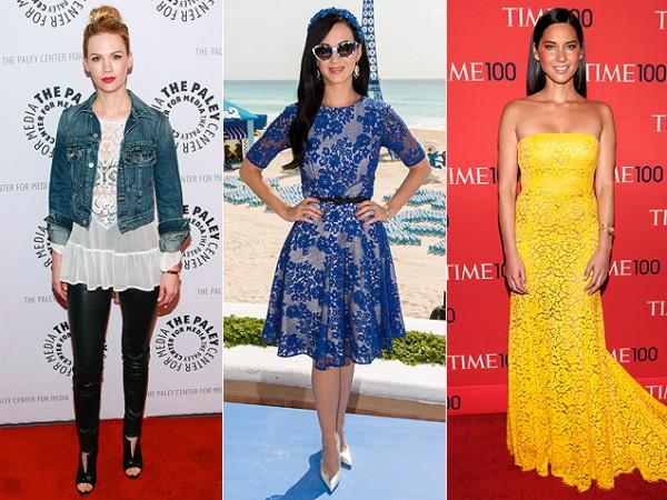 Мода 2013: актриса Дженьюари Джонс, певица Кэти Перри, актриса Оливия Манн (слева направо)