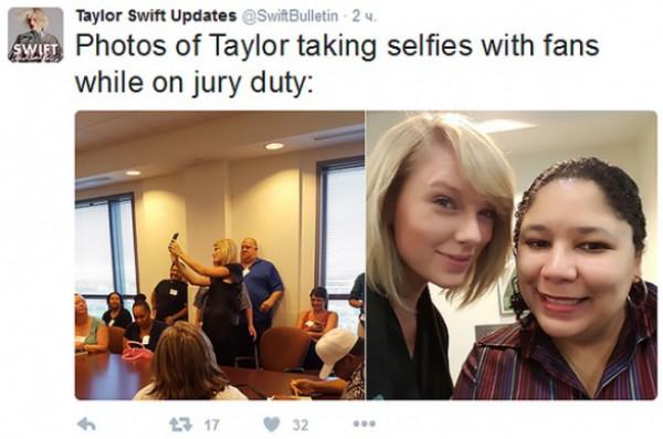 Тейлор Свифт приняла участие всуде присяжных