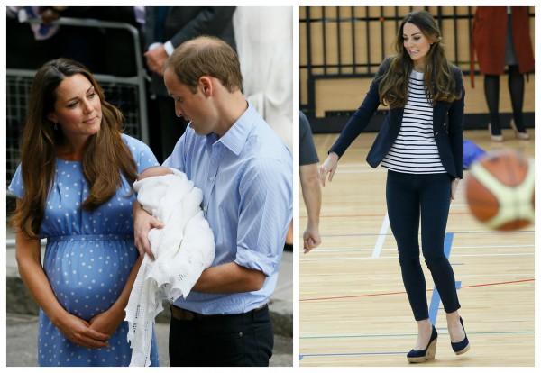 Кейт Миддлтон вернулась в форму: Кейт с сыном и мужем, принцем Уильямом на следующий день после родов, 23 июля 2013  (слева) и Кейт в Олимпийском парке, 18 октября 2013 года.