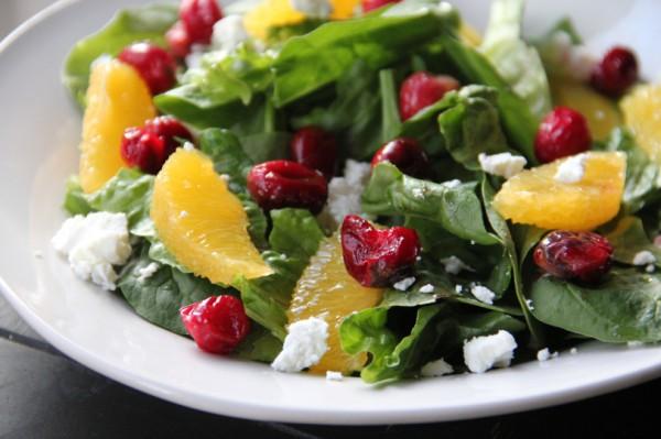 Рецепт                  Зимний салат с апельсинами и клюквой