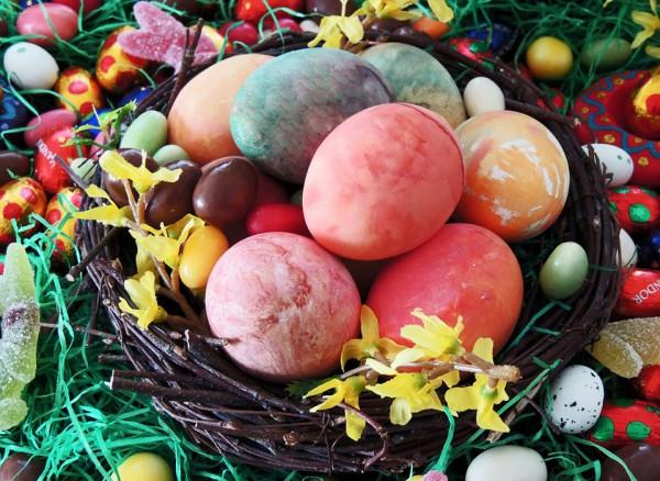 Раскрашенные яйца к Пасхе