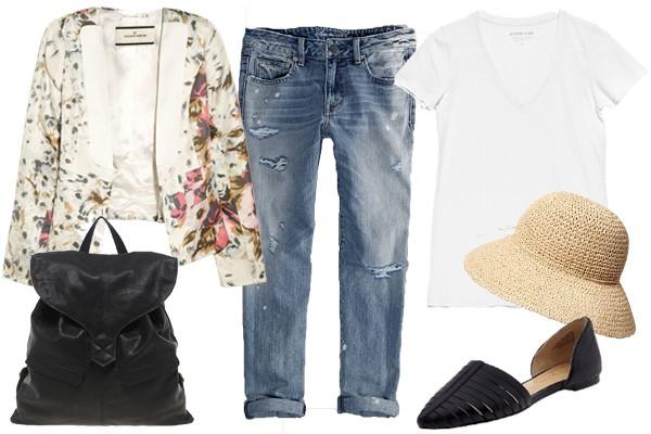Для комфортной поездки за город на дачу надевай белую футболку с джинсами бойфренда и удобной обувью.