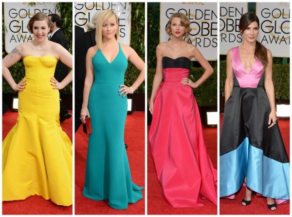 Яркие платья для церемонии Golden Globe выбрали актрисы Лена Данхэм, Риз Уизерспун, певица Тейлор Свифт, актриса Сандра Баллок (слева направо)