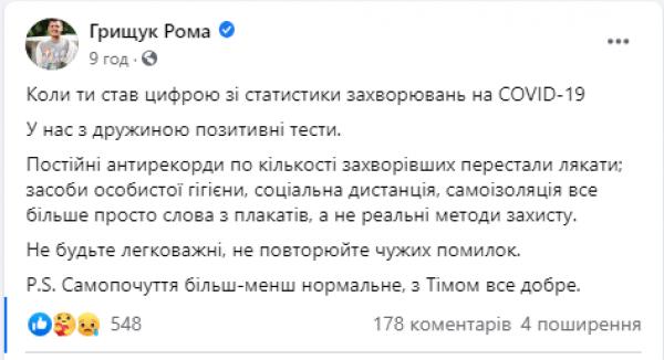 Роман Грищук и Аня Гресь заразились коронавирусом