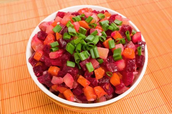 Рецепт салата с фасолью постный венегрет