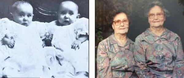 Близнецы в возрасте шести месяцев (Марджори слева) и в возрасте 81 года (Марджори справа)