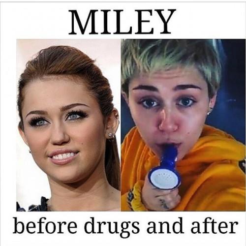 Поклонники показали фото Майли Сайрус якобы до и после приема наркотиков