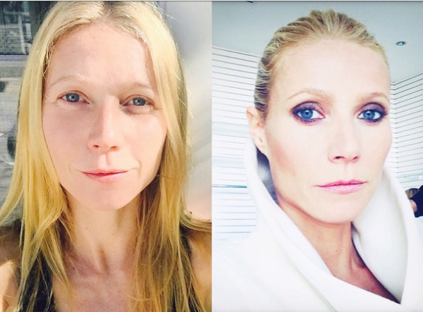 Гвинет Пэлтроу показала лицо без макияжа на контрасте образа с мейк-апом для глянца