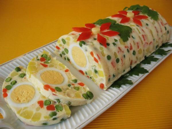 Рецепт                  Желейный новогодний салат