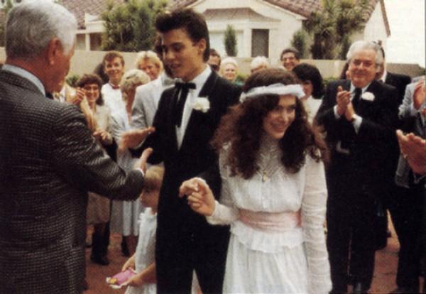 Джонни Депп и его первая жена Лори Энн Эллисон