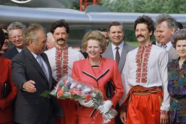 Маргарет Тэтчер во время визита в Киев, 1990 год