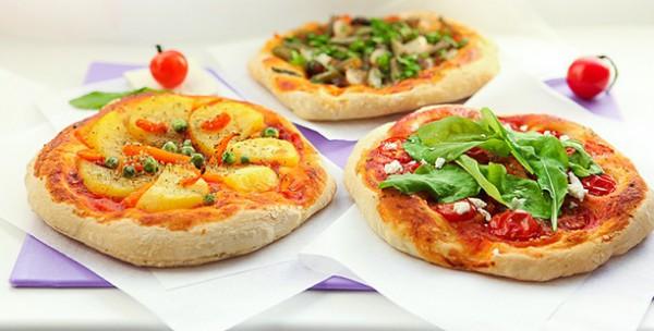 Постные пиццы с овощами