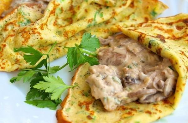 блинчики с сыром и грибами рецепт с фото