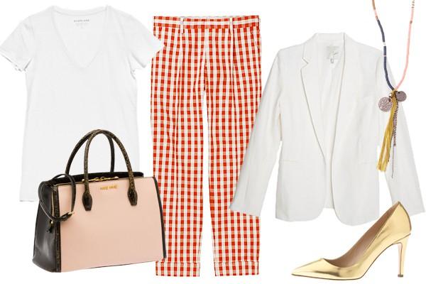 Яркие брюки и изысканные туфли оттенка металлик сделают белую футболку частью делового образа.