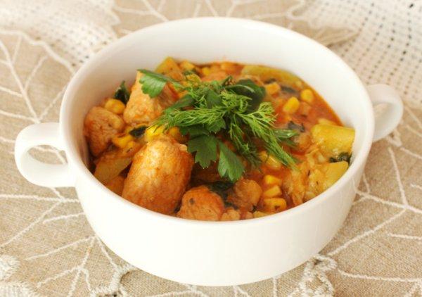 Рецепт                  Острое рагу из индейки с кабачками