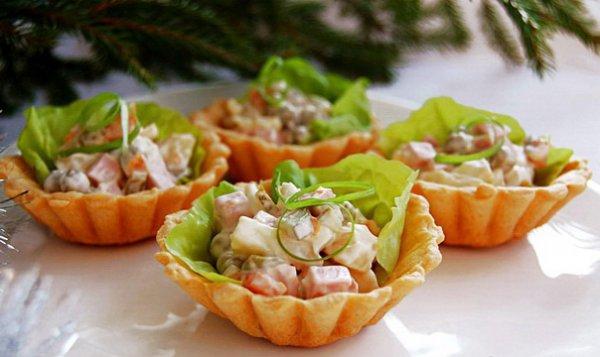 Рецепт                  Корзиночки с салатом Оливье