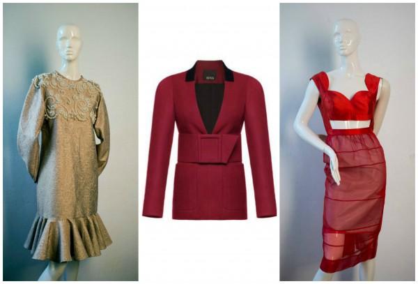 Лоты аукциона (слева направо): платье Aka Nanitashvili, стартовая цена 4000 грн; Жакет BEVZA, стартовая цена 4000 грн; платье AVTANDIL, стартовая цена 4000 грн.