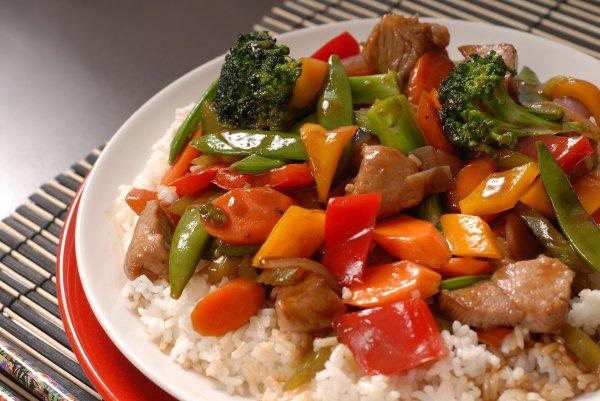 Рецепт                  Свинина с овощами и ананасами