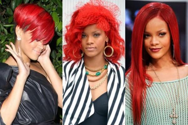 Яркие образы певицы Рианны с красными волосами