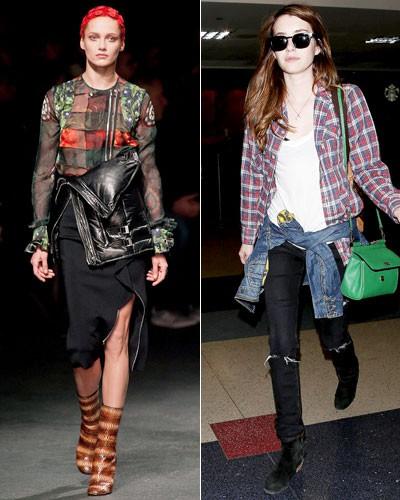 Актриса Эмма Робертс (справа), показ Givenchy