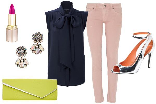 Для вечеринки дополни джинсы легкой блузой и сделай пару ярких акцентов с помощью аксессуаров.
