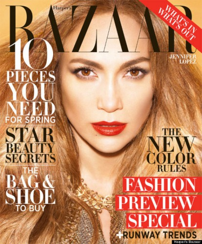 Певица Дженнифер Лопес на обложке Harper's Bazaar, февраль 2013