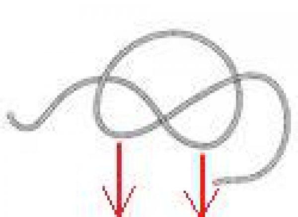 Начиная с одного конца веревки, завяжите свободный узел, не затягивая его. Оставьте 80-сантиметровый хвост по правую сторону, а