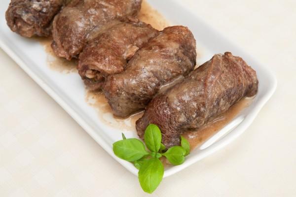 Рецепт                  Крученики из свинины с грибами