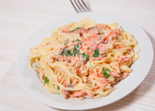 Рецепт спагетти с лососем