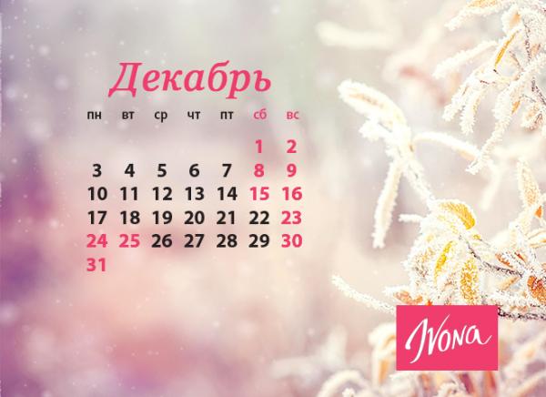 Календарь выходных и праздников на декабрь 2018 года