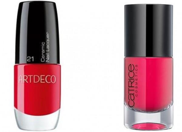 . Клубника: Лак для ногтей Ceramic Nail Laquer, #21 Red Label, Artdeco (слева),  Малина: Лак для ногтей Ultimate Nail Laquer, #26 Raspberryfields Forever, Catrice (справа)