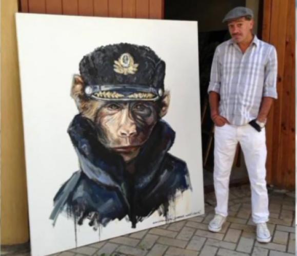 Илья Чичка с картиной Путин