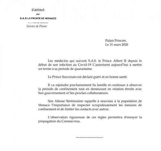 Князь Монако Альбер II вылечился от коронавируса