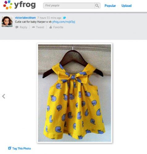 А это платьице Виктория Бекхэм пошила дочери собственно ручно и выложила фото на своей станичке в социальной сети