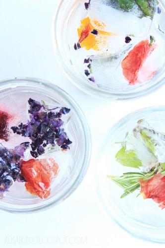В кубиках льда можно замораживать цветы и фрукты