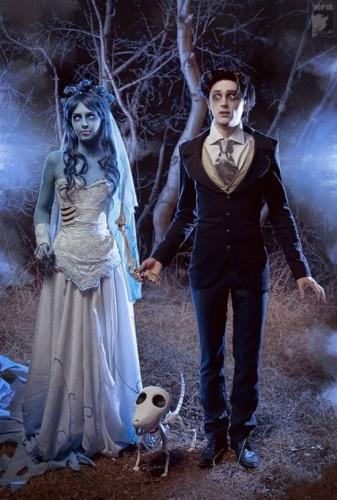 Костюмы на Хэллоуин для пар: герои мультфильма Труп невесты Тима Бертона