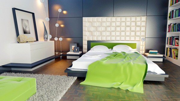 В этой спальне в зеленом цвете выполнена мебель и постельное белье