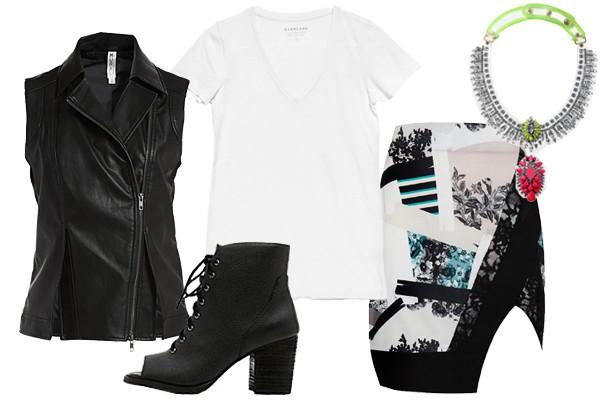 Базовая одежда хорошо сочетается с самыми смелыми вещами. Так что белую футболку можно носить с асимметричной юбкой с ярким принтом, кожаной жилеткой и ботильонами.