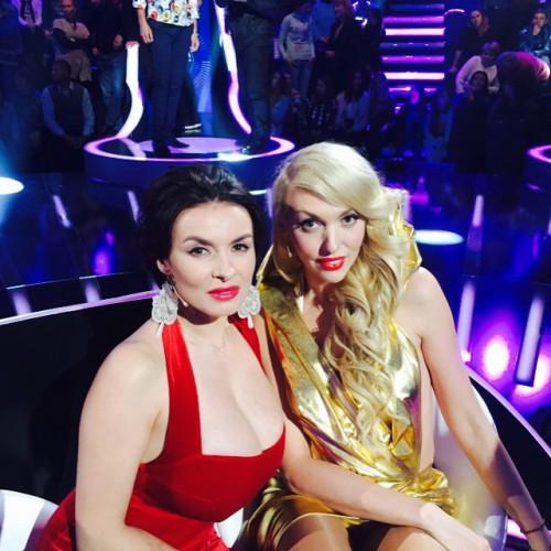 Оля Полякова и Надежда Мейхер на съемках программы Співай як зірка
