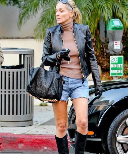 Шэрон Стоун вышла на прогулку без бюстгальтера (фото)