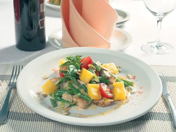 Рецепт                  Салат из печеной тыквы со спаржевой фасолью