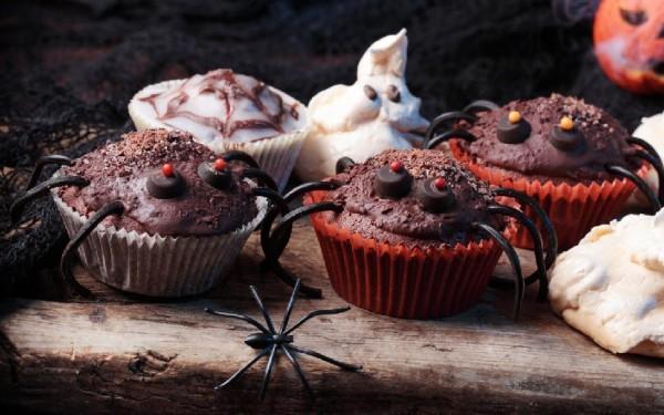 Рецепт                  Рецепты на Хэллоуин: Кексы Веселые паучки