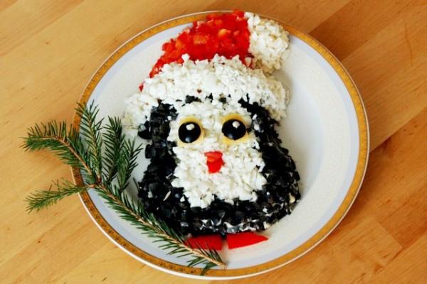 Рецепт                  Новогодний салат Пингвинчик